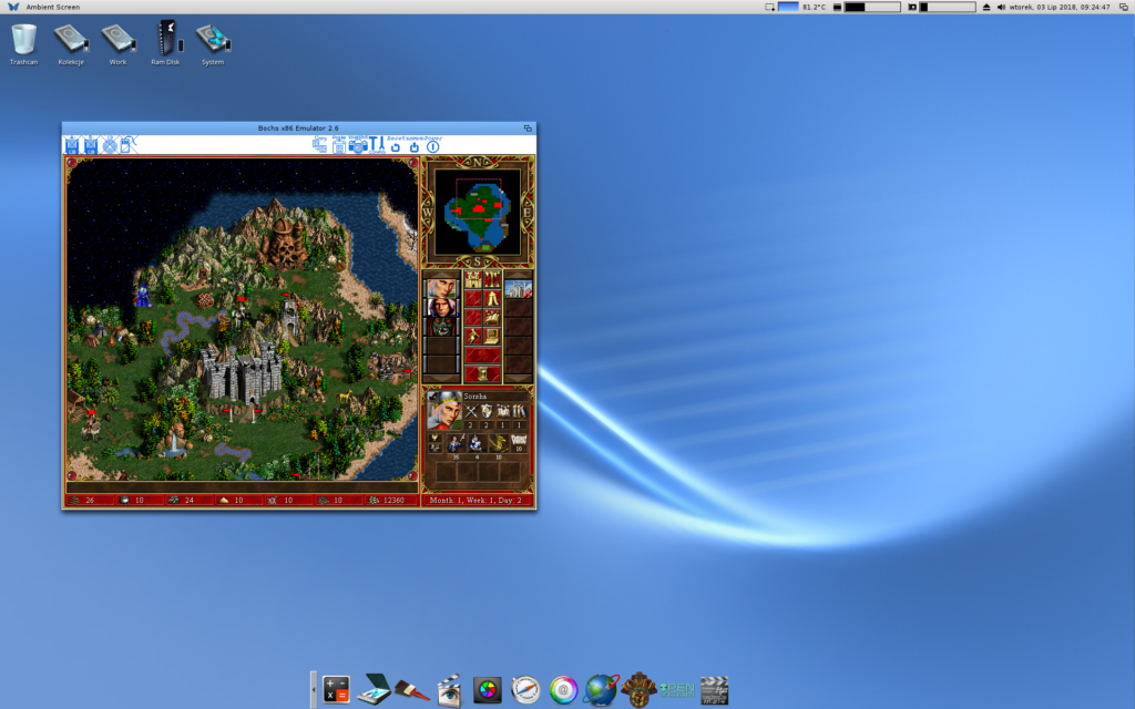Emulator Bochs 2.6 i Heroes of Might and Magic III